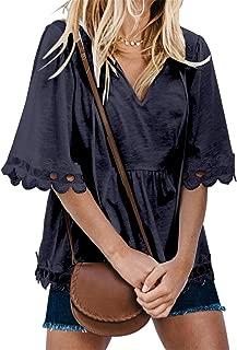 SZIVYSHI Half Sleeve Deep V Neck Lace Spliced Scallop Hem Swing Trapeze Smock Blouse Shirt Top
