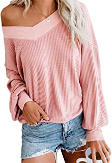 Women's V Neck Long Sleeve Waffle Knit Tops Off Shoulder Pullover Sweater Loose Shirts Blouse