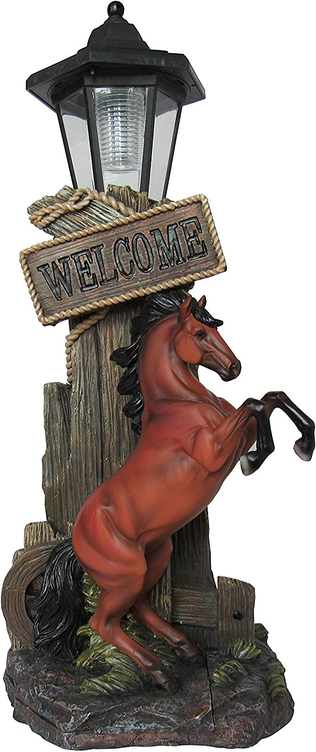 DWK - Stallion's Greeting - Western Welcome Rearing Horse with Rope Figurine Solar Lantern Sun Powered LED Garden Decor Patio Light Landscape Accent, 18-inch
