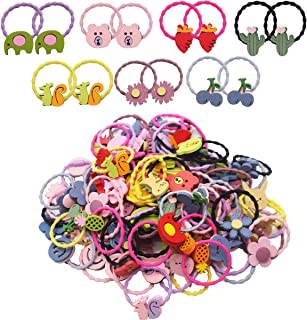 100PCS/50Pairs Baby Girls Hair Holders Hair Ties Baby Bows Ties Elastic Hair Bands Ponytail Holder Hair Accessories for In...