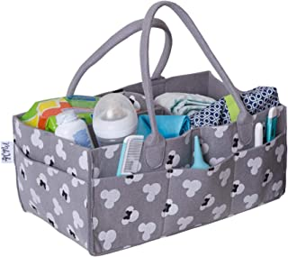 Baby Diaper Caddy and Nursery Storage Organizer | Portable Holder Bin for Changing Table | Large Car Travel Bag | Baby Shower Gift for Boys and Girls | Newborn Registry Must Haves (Regular)