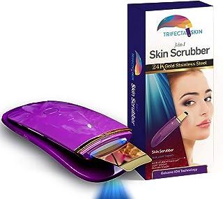 Trifecta Skin Premium 3-in-1 24K Gold Skin Scrubber w/Blue Light Therapy, Galvanic Ion, Micro-current Face Lift Pore Extractor (Trifecta Skin 24K Scrubber)