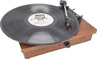MOETATSU レコードプレーヤー ターンテーブル スピーカー内蔵 RCA音声出力端子 33/45/78回転対応 レーコドマット付き (茶色)