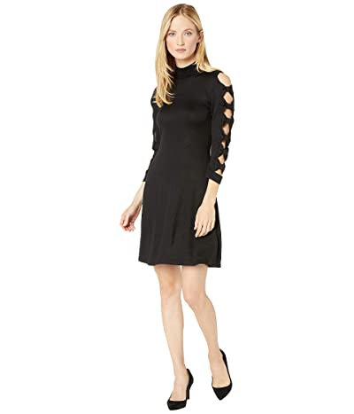 CeCe Bow Sleeve Mock Neck Sweater Dress (Rich Black) Women