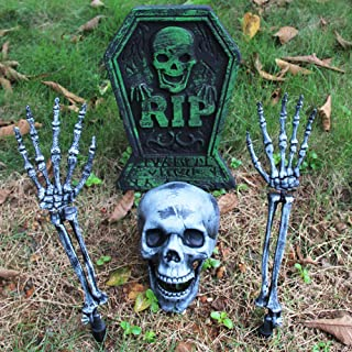 MeiGuiSha Halloween Real Looking Skull and Skeleton Arms by Spooktacular Creations for Halloween Yard Decorations