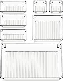 7 Pcs Drawer Organizers 4-Size Makeup Desk Drawer Organizer Plastic Bathroom Storage Bins Versatile Trays Vanity Dividers ...