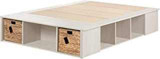 South Shore 11833 Avilla Full Storage Bed with Baskets, Winter Oak and Rattan