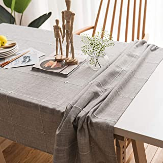 wesell Tablecloth,Embroidery Lattice Tablecloth,Cotton Linen Rectangle Table Cloths for Kitchen Dining