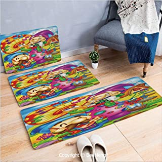 3 Piece Anti-Skid mat for Bathroom Rug Dining Room Home Bedroom,Kids,Cartoon Style Singing Elves with Mushroom Playing Flute Musical Cheerful Illustration,Multicolor,16x24/18x53/20x59 inch