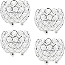 MagiDeal 4Pcs Crystal Beaded Bling Bowl Candleholder For Wedding Table Centerpieces Votive Tealight Candle Holder Silver