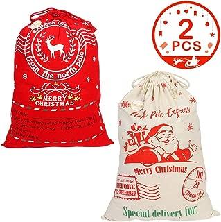 Aytai 2pcs Christmas Gift Bags Santa Sack Canvas Bags Drawstring Canvas Santa Bag for Storing Christmas Presents