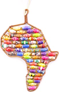 Handcrafted Africa Fair Trade Ornament in Recycled Copper Wire and Paper Bead