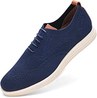 GM GOLAIMAN Men's Wingtip Oxford Dress Shoes Knit Sneakers