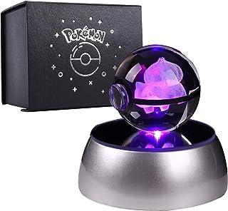 Herefun 3D Bola de Cristal Luz Nocturna Lámpara Pokémon Series Laser Engraving Regalo de Navidad Para Niños 50mm Ball Base de Decoloración Automática - Bulbasaur