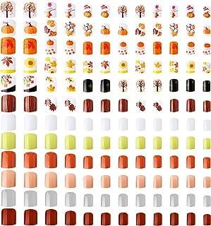 288 Pieces 12 Sets Thanksgiving Short Fake Nails Square Artificial Fake Nail Acrylic False Nails Full Cover Fingernails Gl...