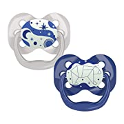 Dr. Brown's Advantage Glow-in-The-Dark 2 Piece Stage 1 Pacifiers, Blue, 0-6 Months