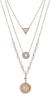 Rose Gold Rose Quartz Essential Oil Diffuser Necklace, Multi-Layer chain 6mm bead; Rose Gold 25mm locket; 9 Colored Diffuser Pads, Velvet Bag (Rose Gold and Rose Quartz)