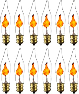 Sunlite 01506-SU プチシャンデリア ちらつき炎電球 燭台ベース E12 クリア 12個パック