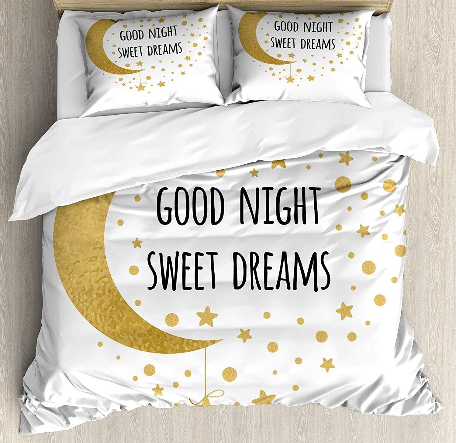 Saying Duvet Fresno Mall Cover Set Limited price Cheerful with Stars and Calligraphy Moon