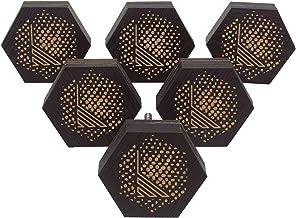 IBA Indianbeautifulart bruin gegraveerde knoppen 10 stuks verpakking houten kledingkast deur knoppen lade trekken 2 x 2 Zo...