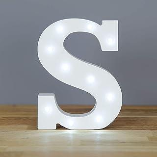 Up in Lights Muestra decorativa de madera blanca de las letras del LED - colgante de pared con pilas - Letra S