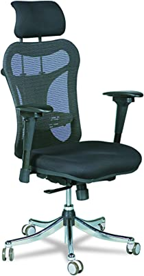 Balt Ergo EX Executive Mesh Office Chair, Ergonomically Adjustable, 28-Inch by 24-Inch by 51-Inch, Black (34434)