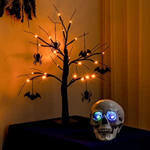 YEAHOME 2FT Black Spooky Halloween Tree Light with 24 LED Orange Lights, 4 Bats and 4 Spiders for Halloween Decorations Battery Operated Indoor Outdoor Decor for Home, Table, Porch