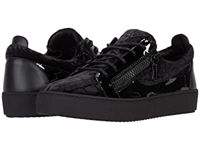 Giuseppe Zanotti May London Velvet Low Top Sneaker (Black) Men