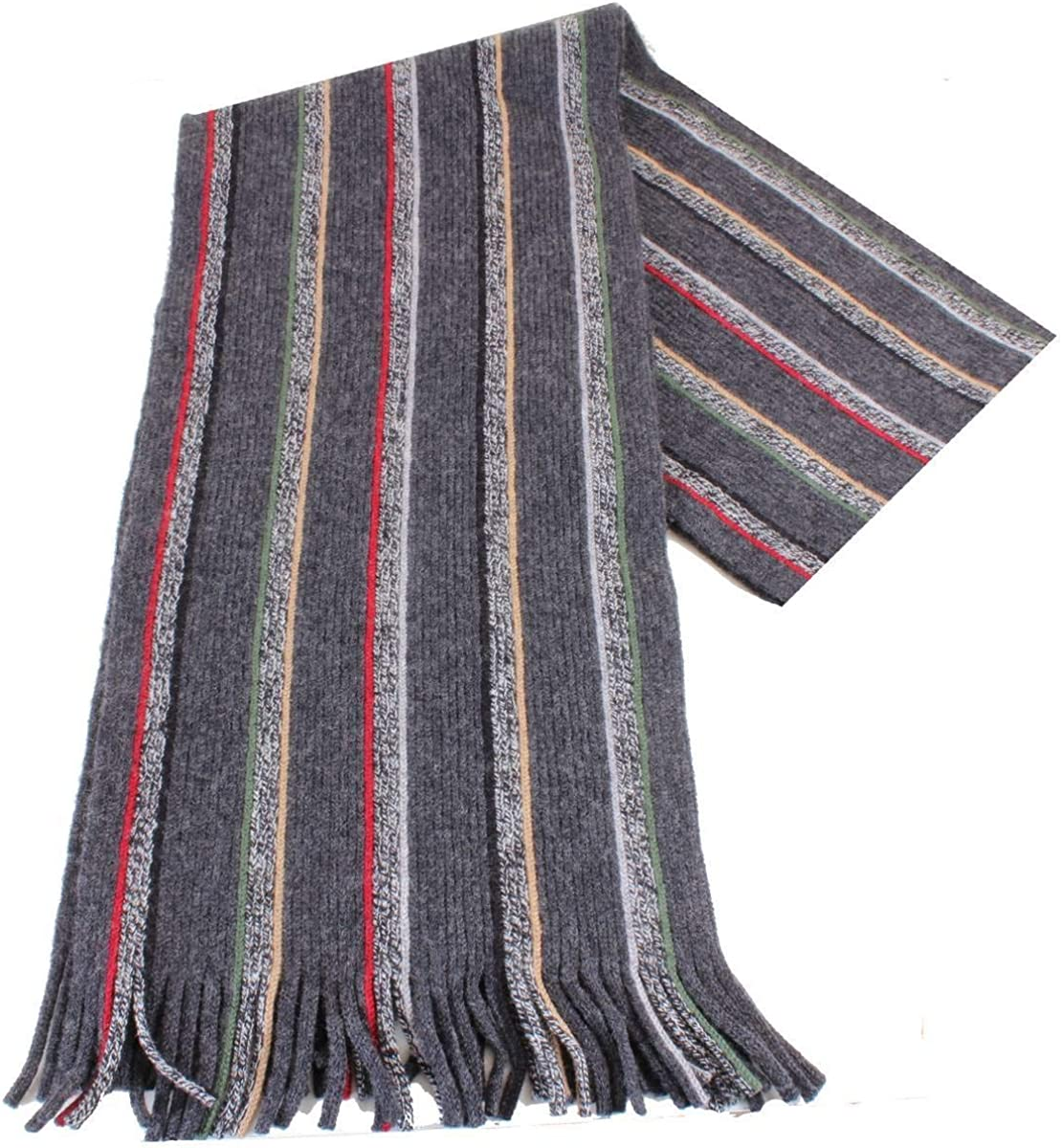 Bassin and Brown Mens Seeler Striped Wool Scarf - Grey/Red/Beige
