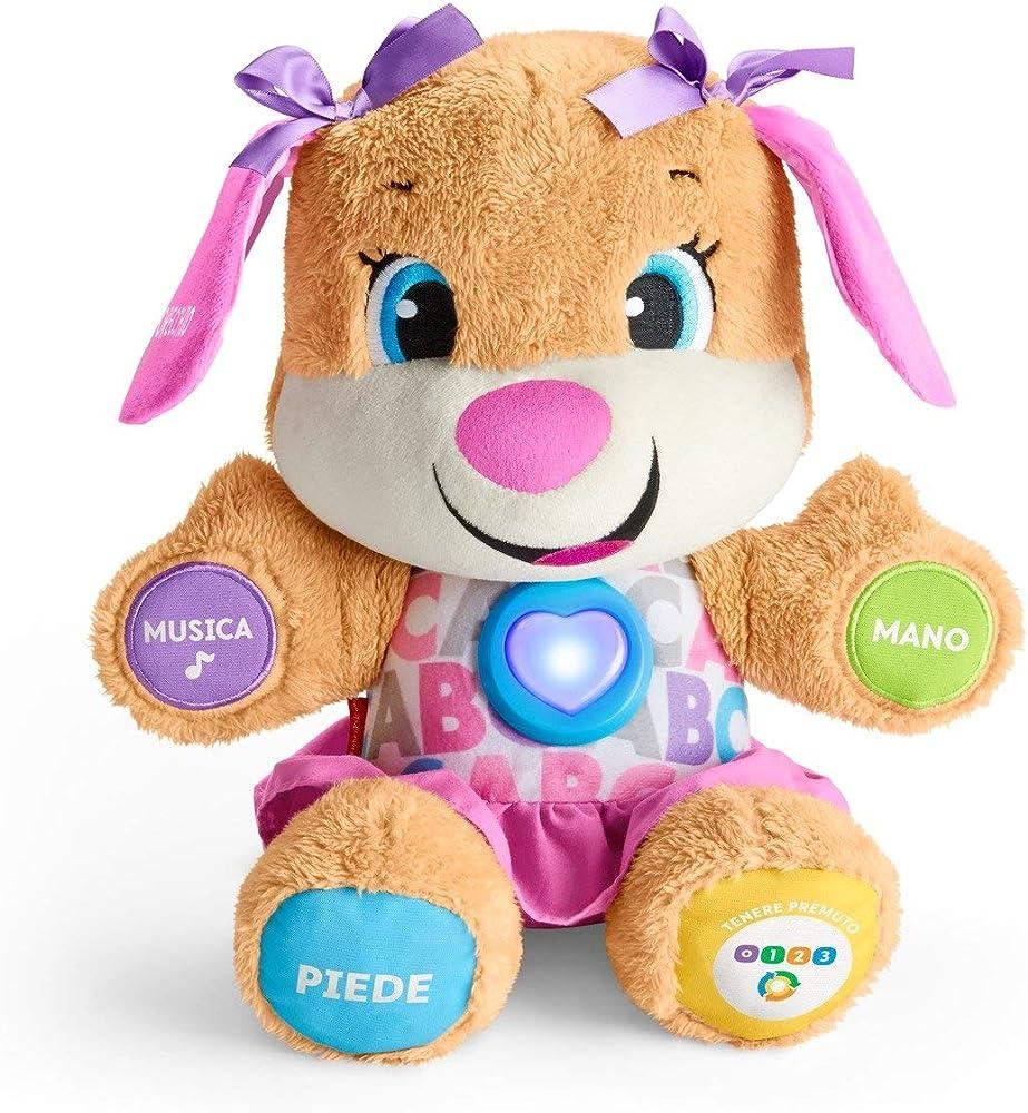 Fisher-price la sorellina del cagnolino smart stages , morbido peluche educativo con musica e canzoni FPP54
