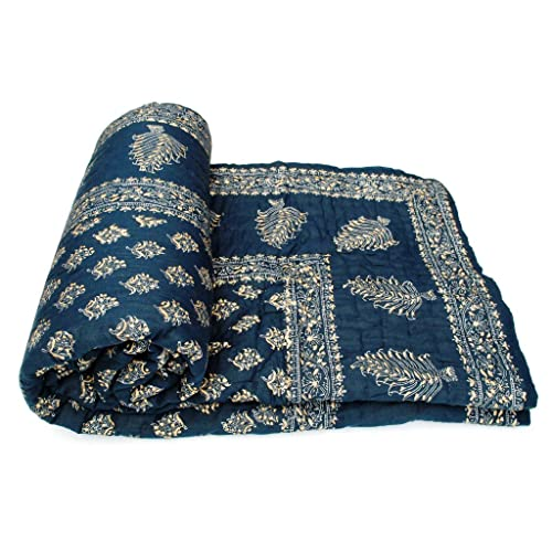 Shop Rajasthan Dark Blue Hand Block Gold Print Cotton Double Bed Quilt - Blue