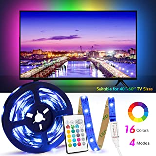 USB tv led Backlight Length 8.2ft (2.5M) Suitable for 40-65in TV, 24 Keys Infrared Remote Control can Remote Control LED Strip Lights, RGB 5050 Light with 16 Colors
