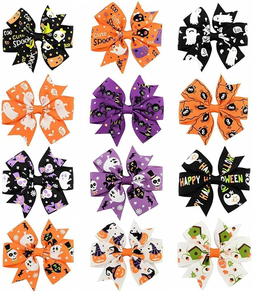 12 Pcs Halloween Bow Excellent Knot Discount mail order Hair for Baby Shiny Little Pins Girls
