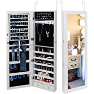 SUPER DEAL Jewelry Armoire Lockable Jewelry Cabinet Wall/Door Mounted Jewelry Organizer with Full...