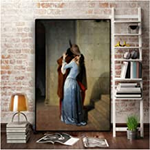The Kiss by Francesco Hayez on Canvas Portrait Posters and Prints Pop Art Wall Picture for Living Room 50x90cm unframed