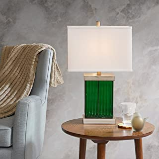 Emerald Green Silver Metal Glas Lamp , Traditional Glass Lamps for Bedrooms , 14.5