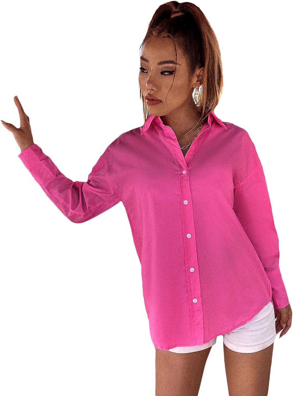MakeMeChic Women's Solid Drop Shoulder Button Up Long Sleeve Blouse Top