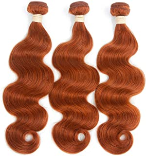 MengY Body Wave Virgin Hair 1 Bundle 100% Unprocessed Remy Human Hair Extensions #350 Brownish Yellow Hair Weave (1 Bundle,8