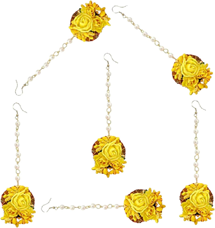 Riya Handicraft Women's Flower Maang Tikka Jewelry Set for Wedding Baby Shower Haldi Mehandi Party in Yellow and Golden Colour (Combo of 6)