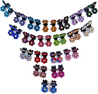 40pcs Bridal Snap Crystal Rhinestone Assorted Bangs Mini Hair Claw Jaw Clip Pin Flower Barrette Accessories for Little Girl Women Baby Toddler Mix Colored (40)