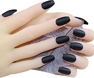 JINDIN Black Matte Fake Nails Coffin Shape Acrylic French False Nail Tips Full Cover for Women Girls Press On Nails Medium Long Design