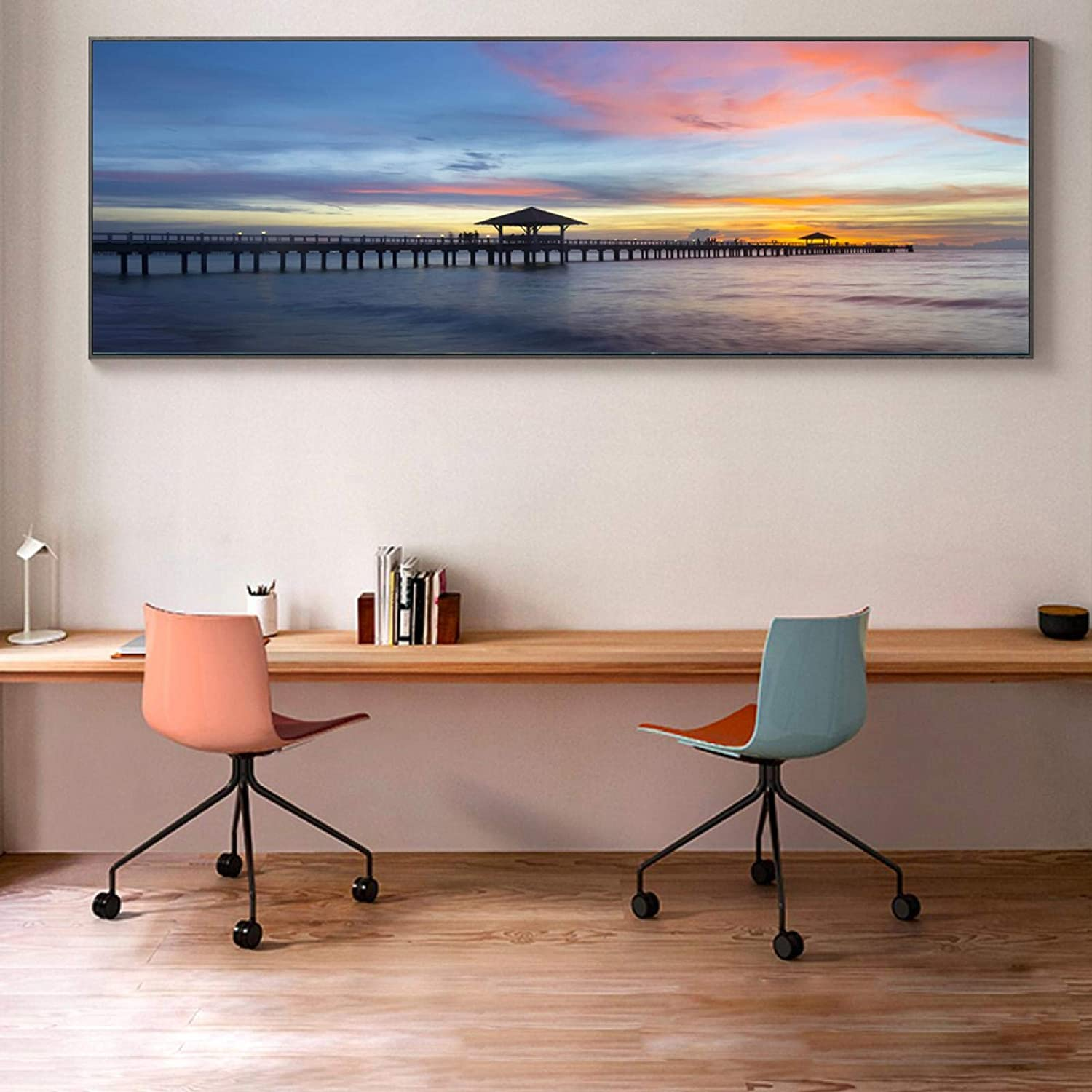 Classic Sea Sunset Bridge Landscape Art Canvas Poster Paintings Tampa Mall security