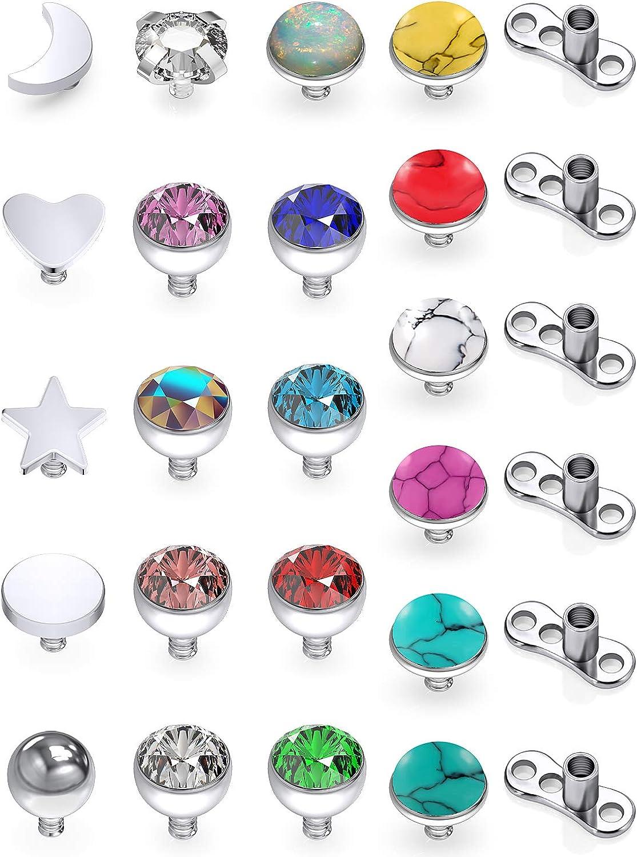 SCERRING 14G Dermal Piercing Jewelry Anchor Tops and Base Titanium Microdermals Piercing for Women Men CZ Ball Flat Moon Star Opal Heart 2mm 3mm 4mm 19-27PCS