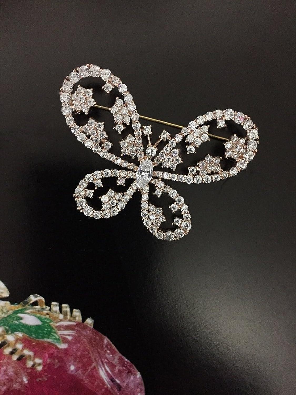 Zircon Pierced Flower Corsage Brooch pin Badge pin Butterfly Collar pin Small Black Dress with Jewelry Women Girls Cardigan Sweater Dress