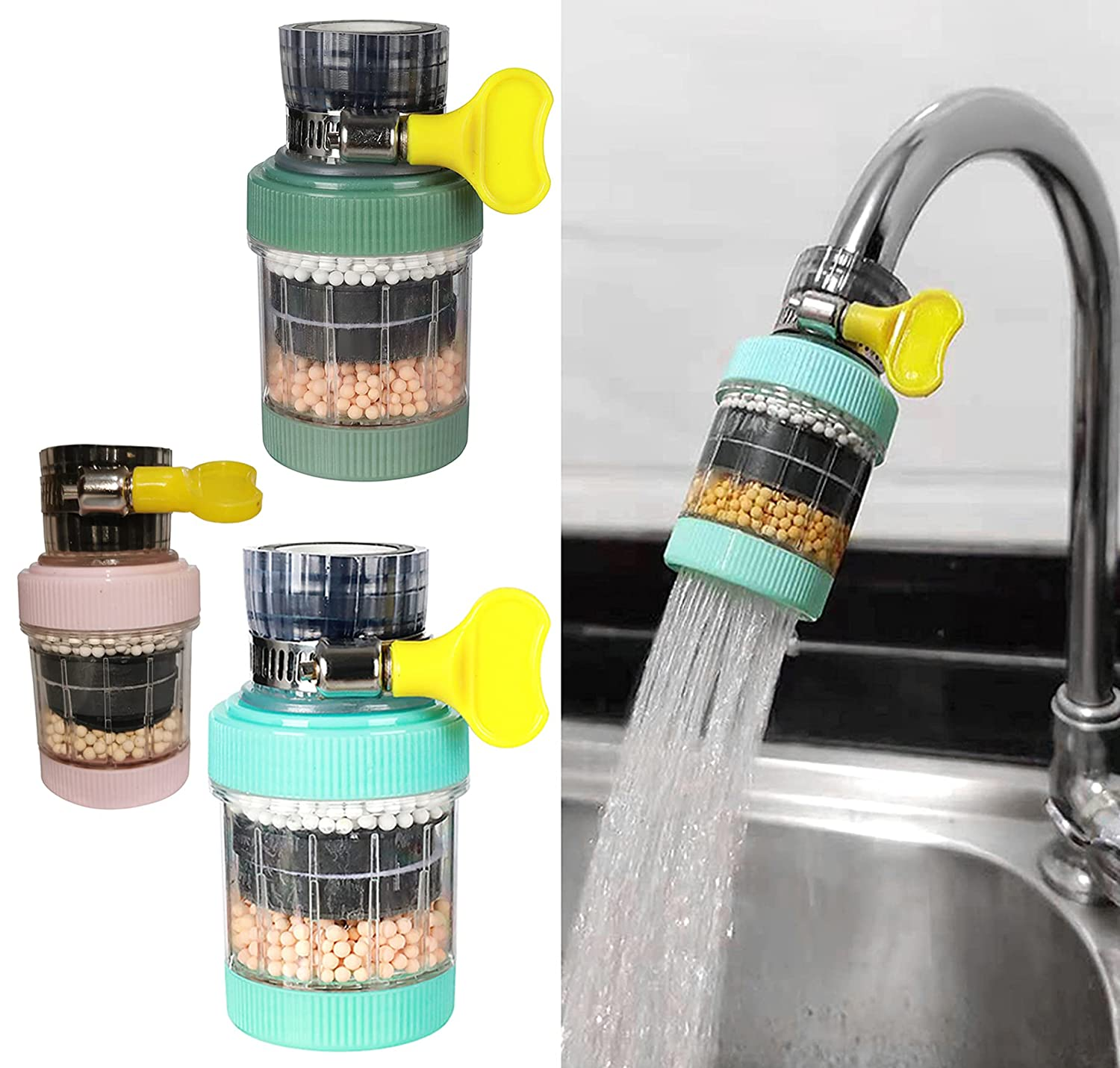 Faucet Mount Filters,3 Pack Faucet Water Filter Purifier Kitchen Tap Filtration Activated Carbon Removes Chlorine Fluoride Heavy Metals Hard Water for Home Kitchen Bathroom