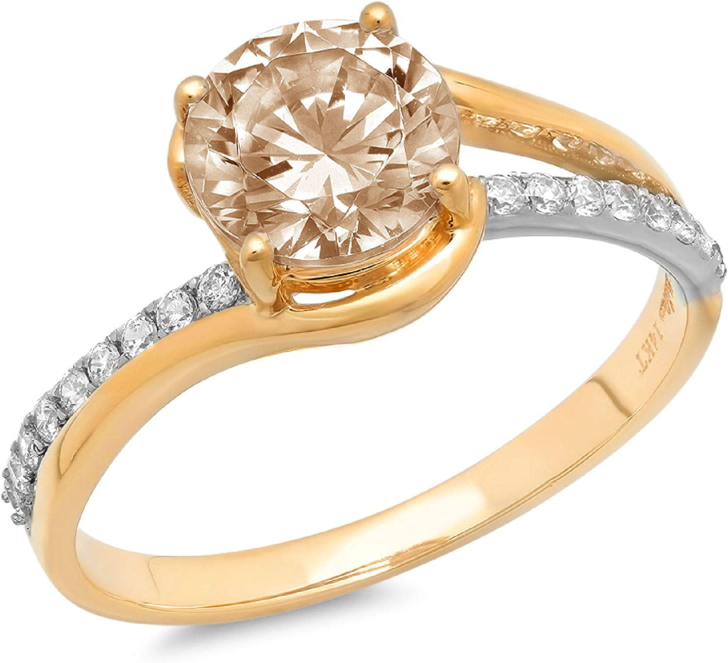 Clara Pucci 2.03 ct Brilliant Round Cut Solitaire Stunning Genuine Flawless Champagne Simulated Diamond Gem Designer Modern Statement Accent Ring Solid 18K 2 tone Yellow Gold