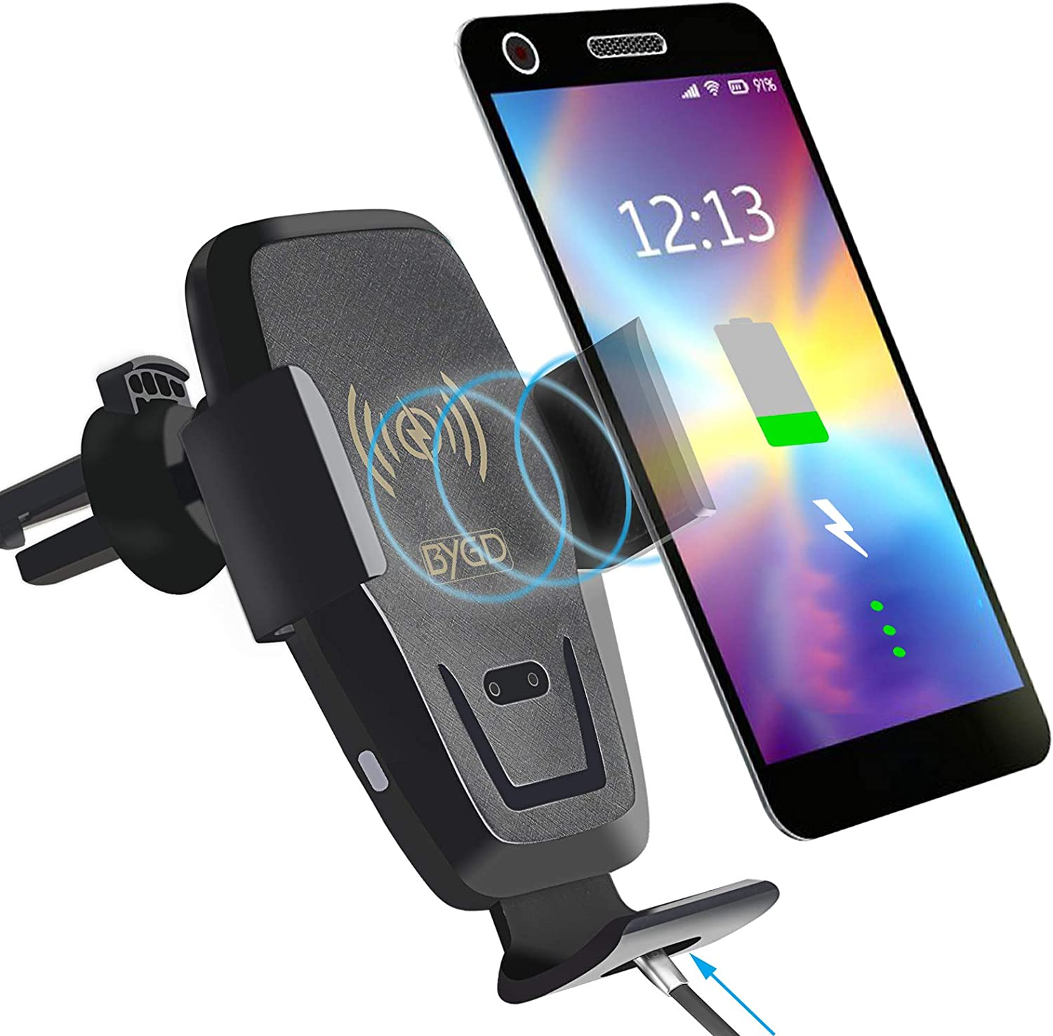 BYGD Wireless Car Charger Mount, 10W Qi Fast Charging Car Phone Holder Mount, Ventilation Hole Car Cell Phone Holder, Compatible with iPhone 11/11 Pro/11 Pro Max/8 Plus, Samsung S6/S6 Edge/S7