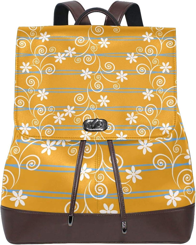 FAJRO Ethnic Style Flowers Travel Backpack Leather Handbag School Pack