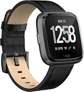 SWEES for Fitbit Versa Bands Leather Small & Large, Genuine Leather Band with Stainless Steel
