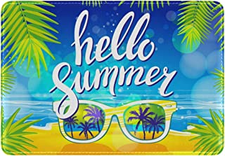 Mydaily Hello Summer Sunglasses Palm Leather Passport Holder Cover Case Protector